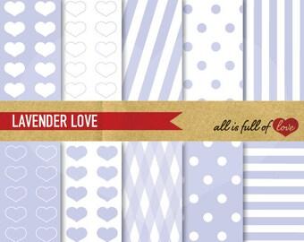 Valentines DIGITAL PAPER Lavender Backgrounds LOVE heart patterns polka dots candy stripes Digital Graphics Lilac  Valentines Paper Violet
