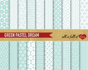 Digital Scrapbooking Paper Pack MINT GREEN Pattern Background Baptism paper mint chevron digital paper patterned cardstock DIY Stationery