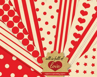 DIY Valentines Day Digital SCRAPBOOK Paper Pack RED Printable Background Vintage Sheets Valentines wrapping Valentines Paper 1/16