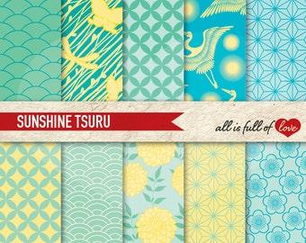Digital Paper JAPANESE Printable Background SUNSHINE Patterned Cardstock