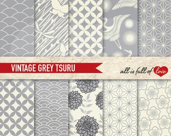 Japan Digital Paper Pack GREY Japanese Patterns SCRAPBOOK Background Chinese New Year Digital graphics grey wrapping paper printable