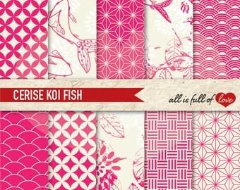 Digital Background Paper Pack CERISE PINK KOI Fish Printable Scrapbook Pattern Chinese New Year Paper Valentines Digital Paper Koi