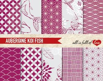JAPAN Digital Paper Pack AUBERGINE Background Printable KOI Fish Scrapbook Chinese New Year Paper Valentines Digital Paper Koi Fish