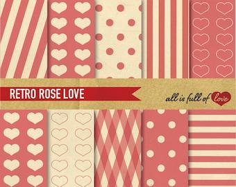 Valentines Paper Pink Digital Scrapbooking Paper Vintage Rose Pink Heart Printable Background Valentines Graphics pink dots stripes set