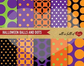 Halloween Graphics Trick or Treat DIY Scrapbooking Kit HALLOWEEN Digital Paper Pack Polka DOTS Background Printable in Purple Green Orange