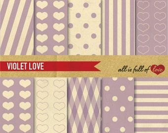 DIGITAL Scrapbooking Paper Kit VIOLET LOVE Digital Print Backgrounds Instant Download Valentines Digital Paper