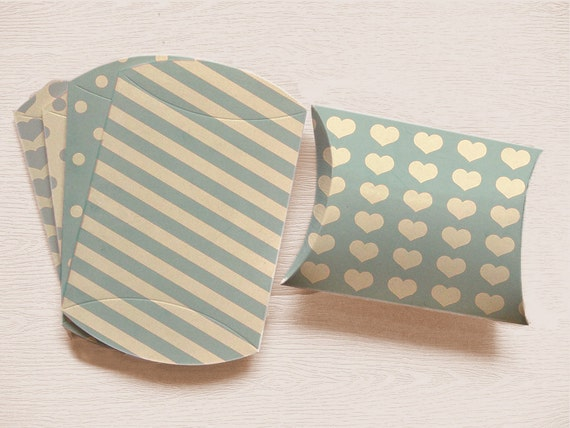 DIY Pillow Box BABY BLUE Printable Set of 5 with Instant Download