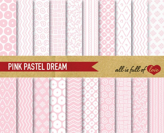 Baby PINK Background Patterns Pastel Background Pale Pink Digital Paper Pack CHEVRON Patterns Hand draw Graphics Girl Baptism Papers