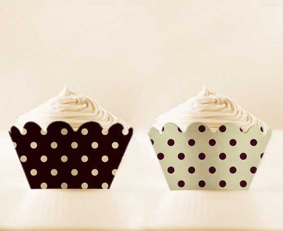 Cupcake Wrappers Printable Black Liners Retro Polka Dots Holders DIY Set New Years Eve Party Decor Black cupcake wrap Black