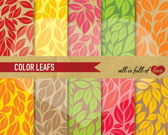 DIGITAL Scrapbooking Paper Pack Leafs in Rainbow Colors Background