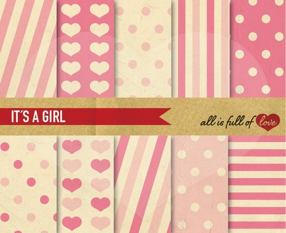 Valentines Scrapbook Digital Background Paper Kit ITS a GIRL Pink Stripes Hearts Polka Dots Patterns Valentines Paper baby girl graphics 2