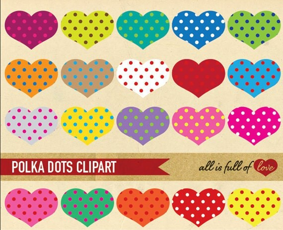 HEART CLIP ART Polka Dots In Rainbow Colors By AllFullOfLove