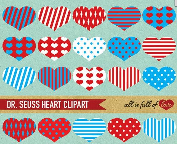 Heart Clip Art RED BLUE Digital Scrapbooking Dr SEUSS Clipart