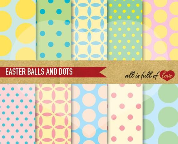 Scrapbooking Digital Paper Pack PASTEL COLOR Balls and Polka Dots Backgrounds Printable