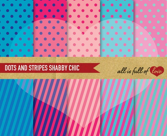SHABBY CHIC Paper Pack Pink Teal Polka Dots & Stripes Printable Background Wedding Graphics Turquoise Blue Pink pattern sheets invitations