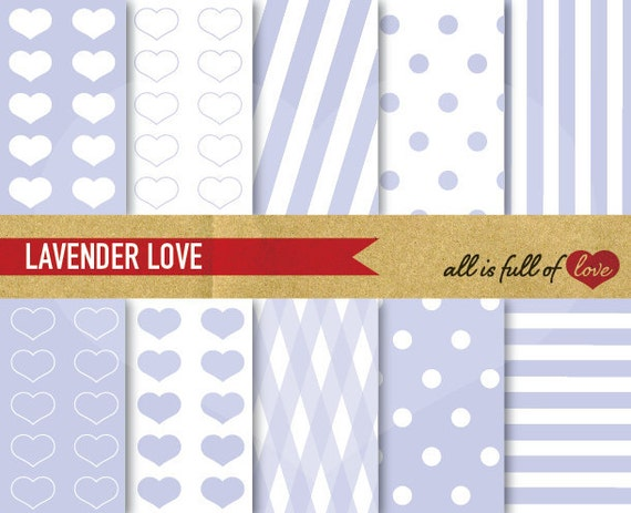 Valentines DIGITAL PAPER Lavender Backgrounds LOVE heart patterns polka dots candy stripes Digital Graphics Lilac  Valentines Paper 01/16