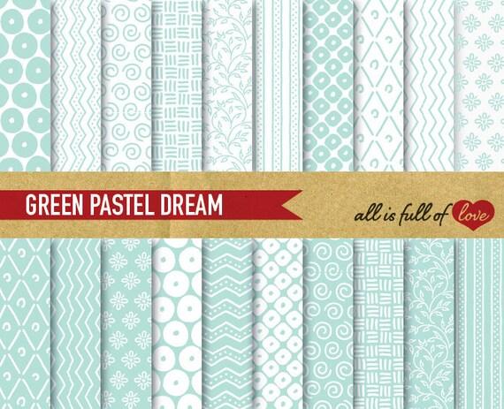 Digital Scrapbooking Paper Pack MINT GREEN Pattern Background Baptism paper mint chevron digital paper patterned cardstock DIY Stationery