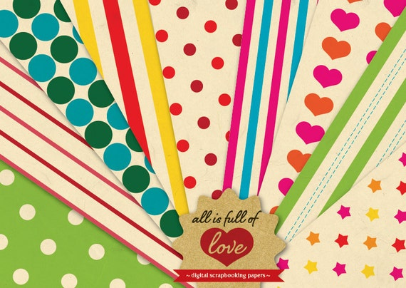 Rainbow Papers Digital Scrapbooking Paper Pack Vintage Background Sheets Valentines Digital Paper Carnival fair backgrounds hearts