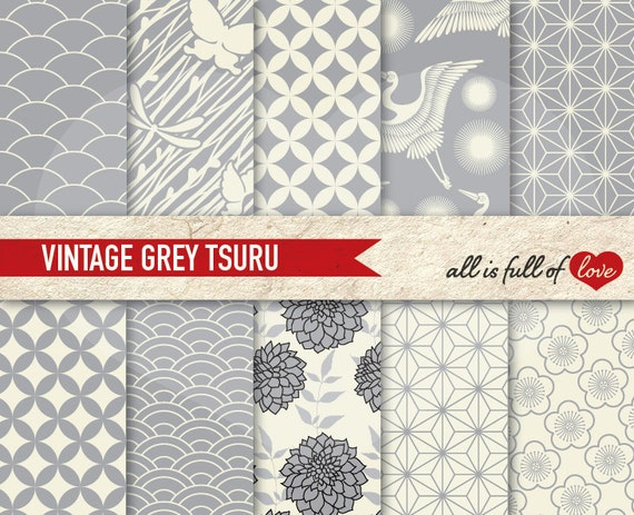 JAPANESE Digital Paper Pack Tsuru Pattern GREY Printable Scrapbook Backgrounds with Instant Download Chinese New Year Paper