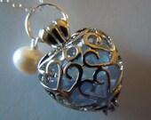 Blue Heart Locket Necklace