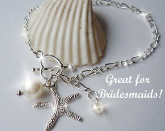 Beach Wedding Starfish  Charm  Bracelet or Anklet- Bridesmaid Gfits