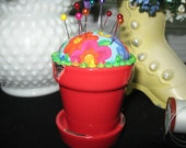 "Pincushion "" Red Flower Pot"""