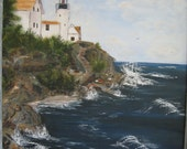 """Oil painting of  """" Maine light house"""""""