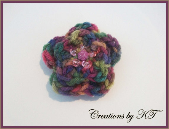 Flower Pin Brooch Crocheted and Beaded Artist Pallette Multi Color Pinks Purples