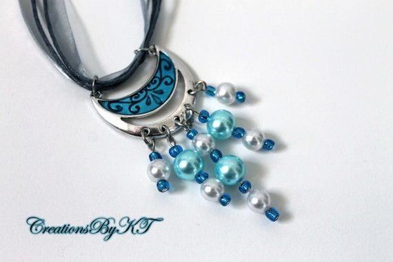 Blue Silver Necklace Ribbon Beads Elegant Beautiful Fancy