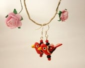 Red bird animal wooden earrings