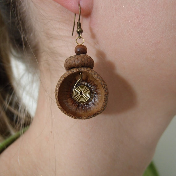 Nature lover - Eco friendly  earrings made of acorn hats