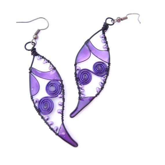 Purple swirl art handmade earrings