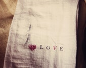 French shabby LOVE tea towels set of 2