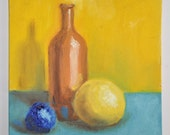 Original Oil Painting Still Life with Blue Yellow balls I
