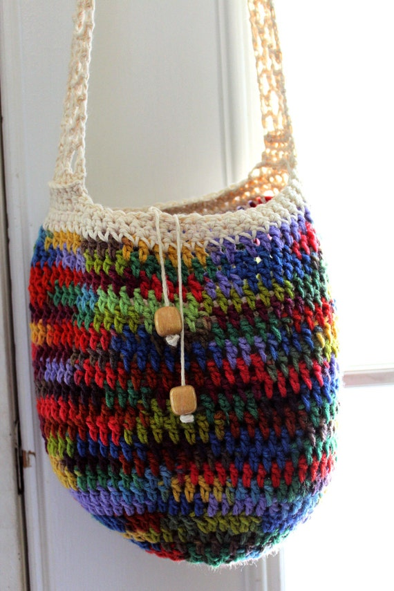 Crochet Hippie Bag : Hippie satchel, rainbow crochet purse, beach bag, market bag