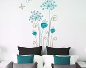 Garamba - Exotic flowers wall decal- grey/ teal