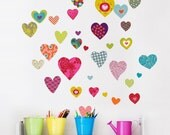 Rialto - Colorful pattern heart wall decal