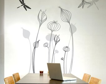 Talamanca - Growing flowers wall decal - matching tones grey