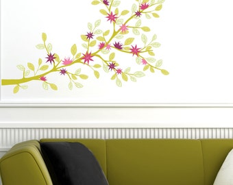 Vientiane -  Colorfu branch wall decal - pink/green