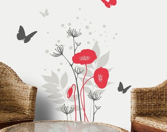 Avignon - Poppies flowers with butterflies wall decal - red/grey