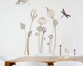 Tortuguero - Growing flowers wall decal - brown/beige
