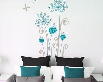 Garamba - Exotic flowers wall decal- grey/ teal