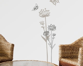 Lugano - Mountain flowers wall decal - grey matching tones
