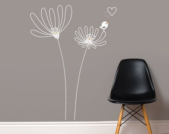 Rimouski - Flowers with bird wall decal - white