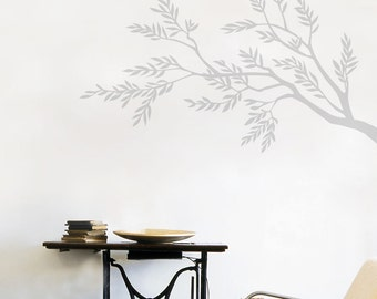 Sabria - Olive tree branch wall sticker - light grey