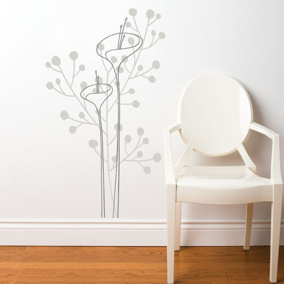 Portofino - Flowers wall decal - grey matching tones