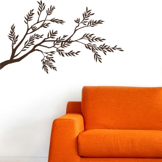 Sirte - Olive tree branch wall decal - brown