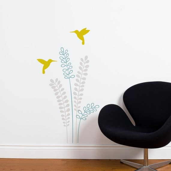 Dardanelles - Mixed colors flowers with birds wall decal
