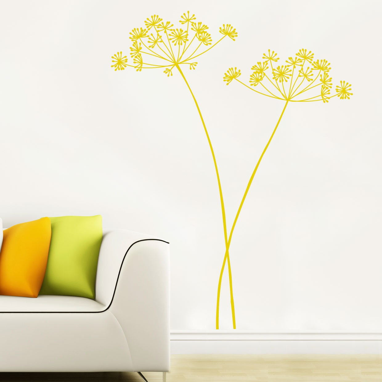 Algajola Flower Wall Decal Yellow Ocher - Yellow wall decals