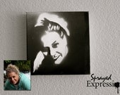 "Customizable Portrait Spray Paintings, 8""x8"" Canvas - Made to Order"
